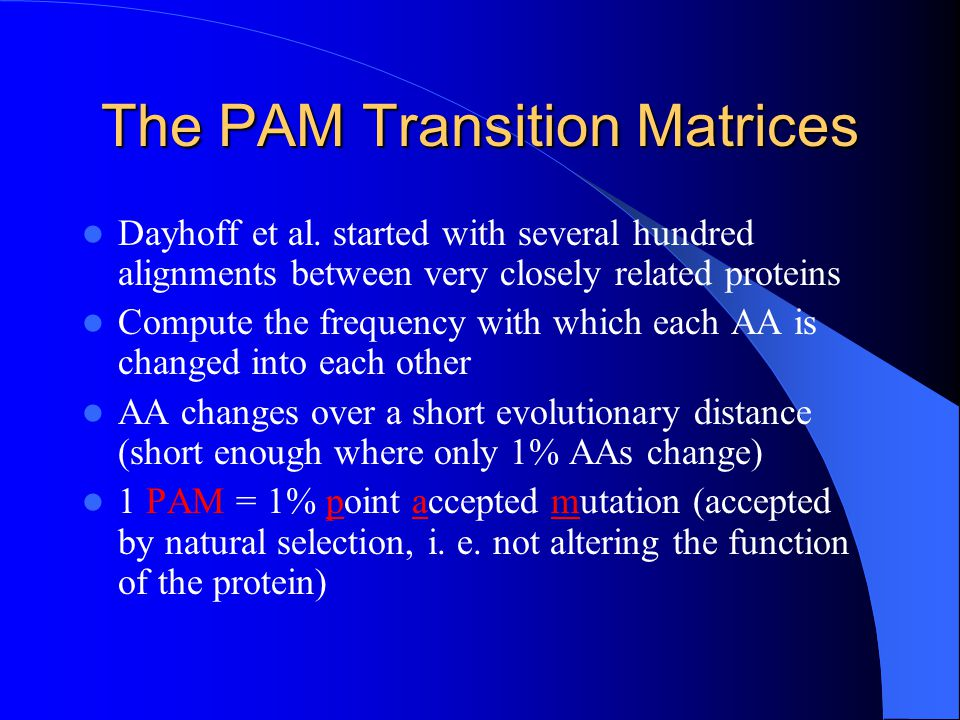 The PAM Transition Matrices