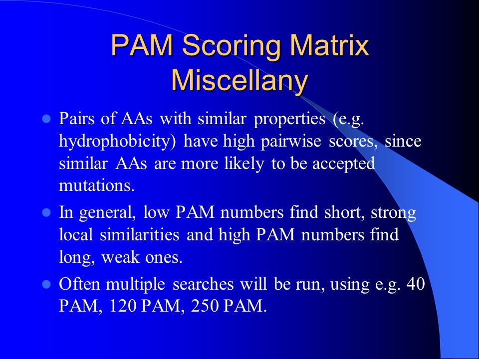 PAM Scoring Matrix Miscellany