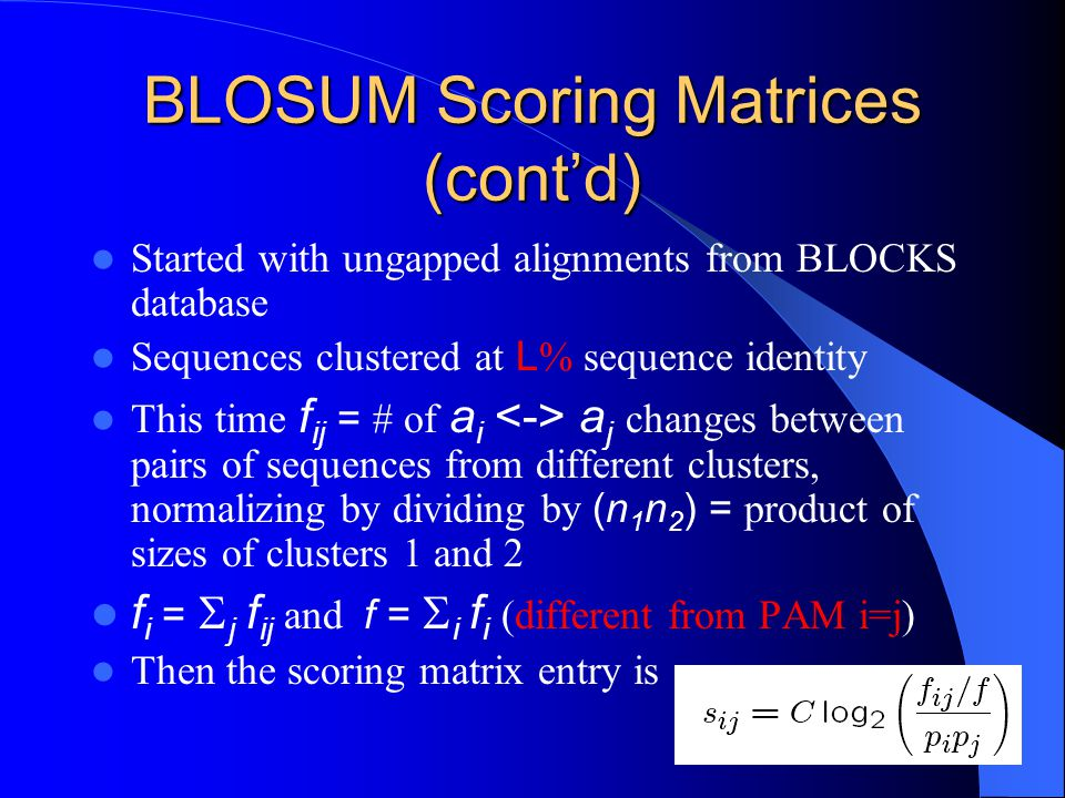 BLOSUM Scoring Matrices (cont'd)