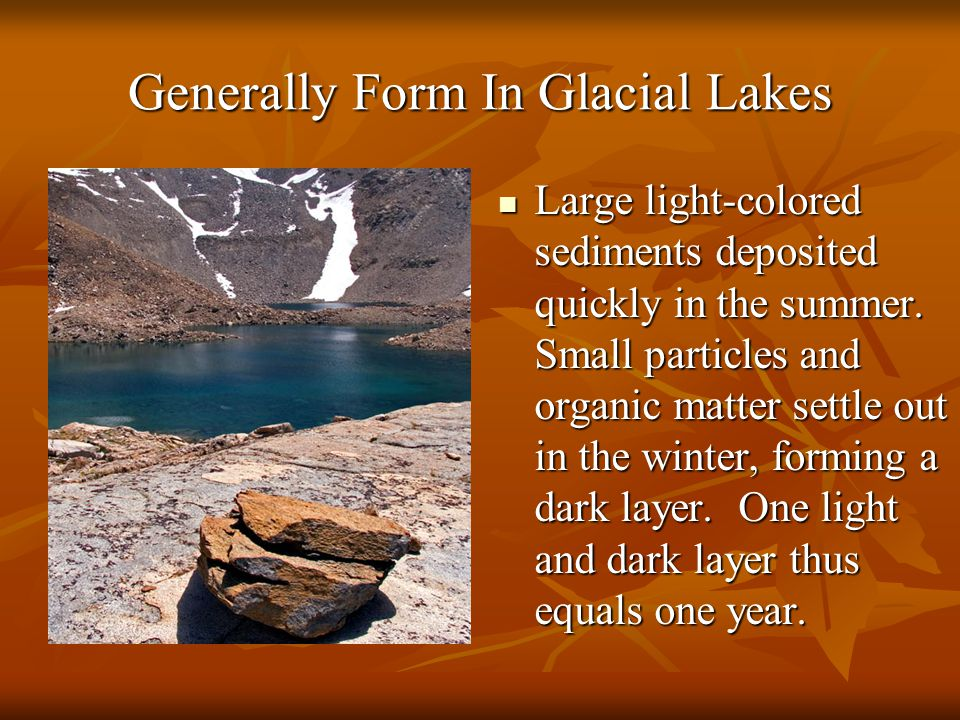 Generally Form In Glacial Lakes