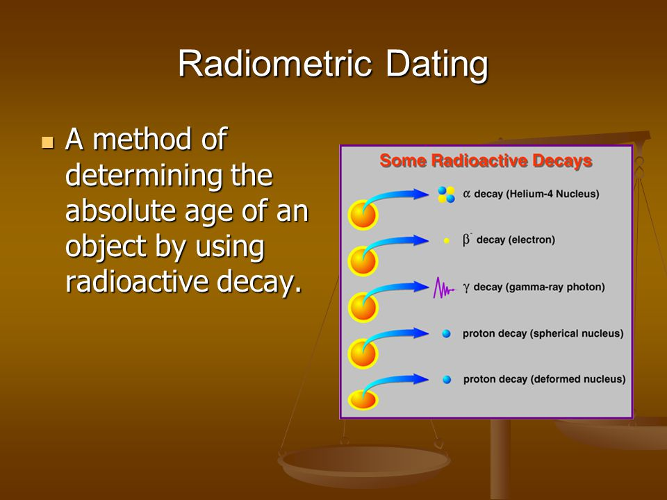 Radiometric Dating A method of determining the absolute age of an object by using radioactive decay.