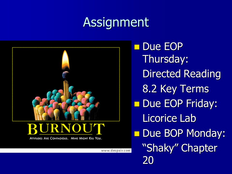Assignment Due EOP Thursday: Directed Reading 8.2 Key Terms