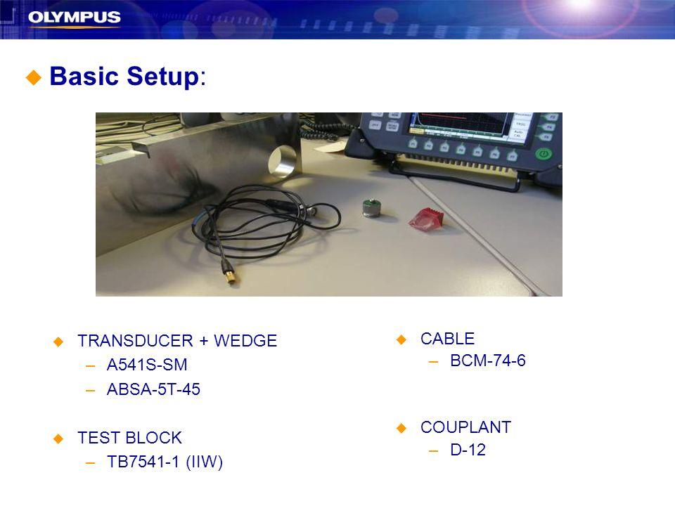 Basic Setup: TRANSDUCER + WEDGE A541S-SM ABSA-5T-45 TEST BLOCK