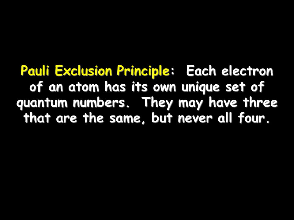 Pauli Exclusion Principle: Each electron of an atom has its own unique set of quantum numbers.