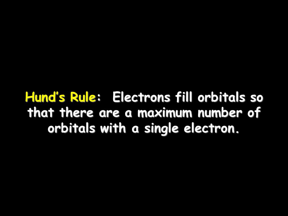 Hund's Rule: Electrons fill orbitals so that there are a maximum number of orbitals with a single electron.