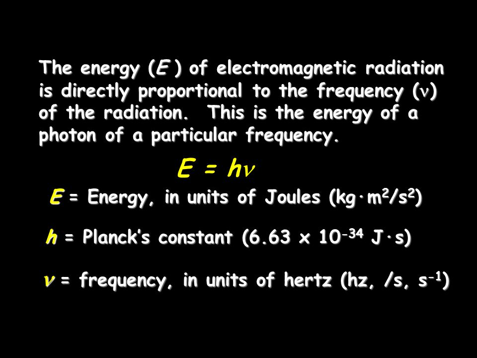 E = h  = frequency, in units of hertz (hz, /s, s-1)