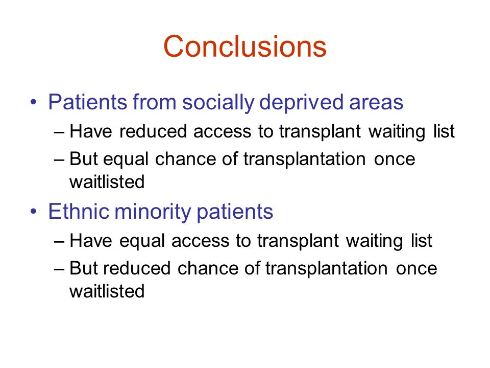 Conclusions Patients from socially deprived areas