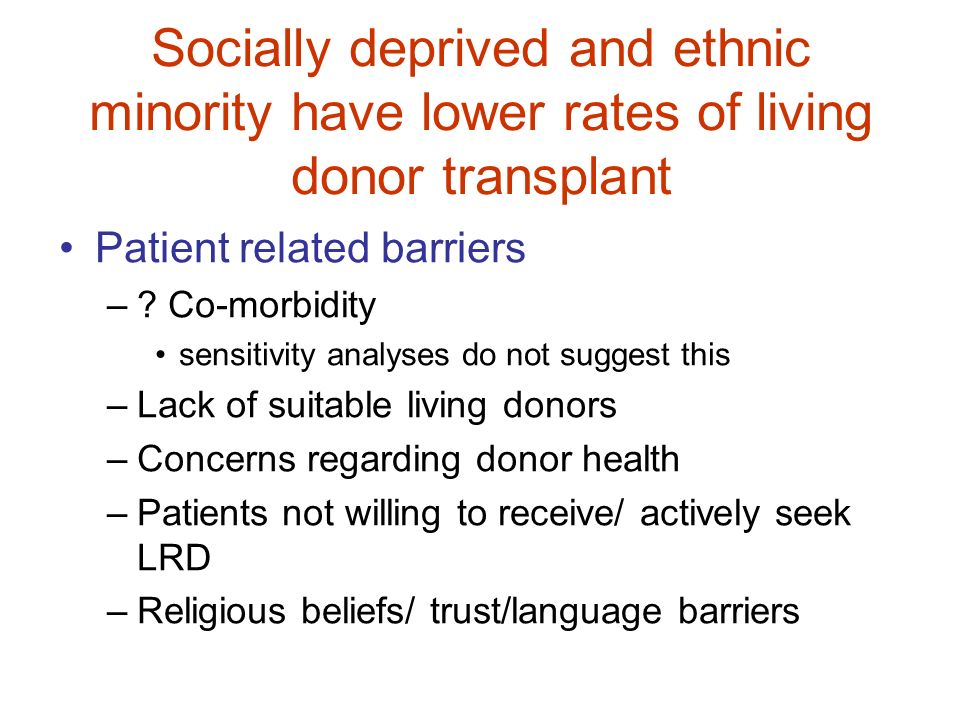 Socially deprived and ethnic minority have lower rates of living donor transplant