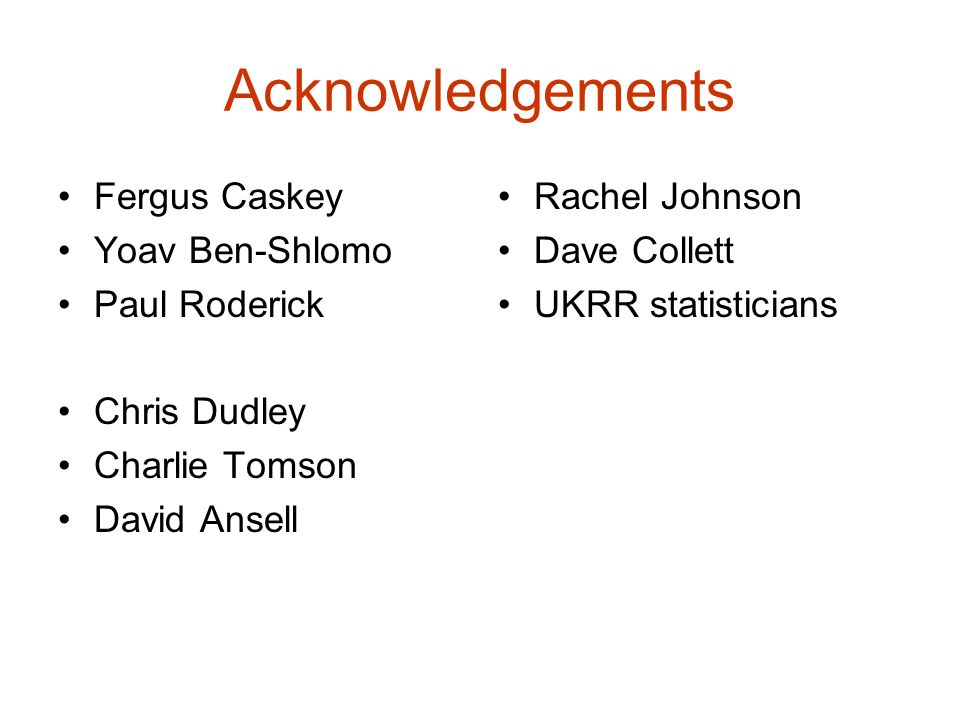 Acknowledgements Fergus Caskey Yoav Ben-Shlomo Paul Roderick
