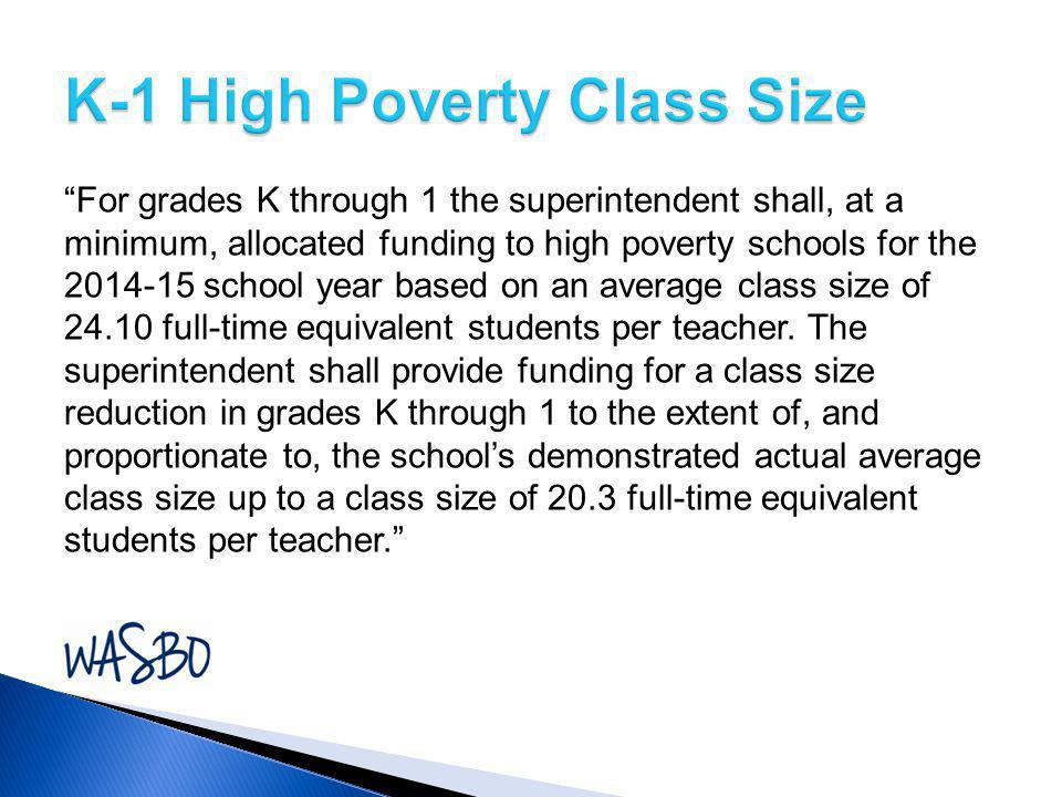 K-1 High Poverty Class Size