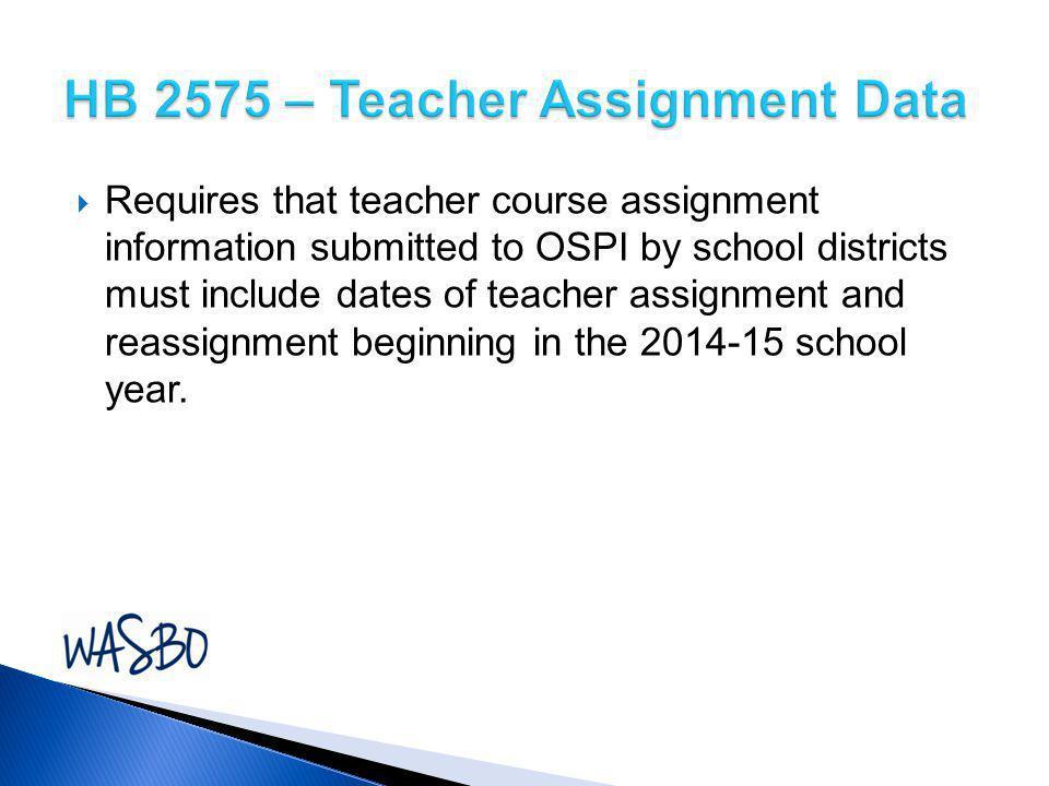 HB 2575 – Teacher Assignment Data