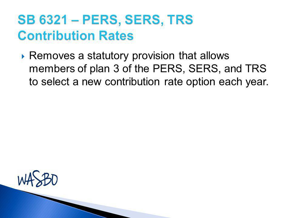 SB 6321 – PERS, SERS, TRS Contribution Rates