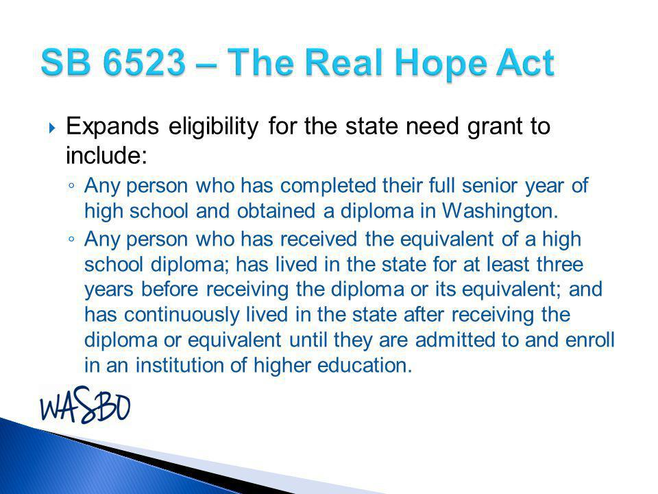 SB 6523 – The Real Hope Act Expands eligibility for the state need grant to include:
