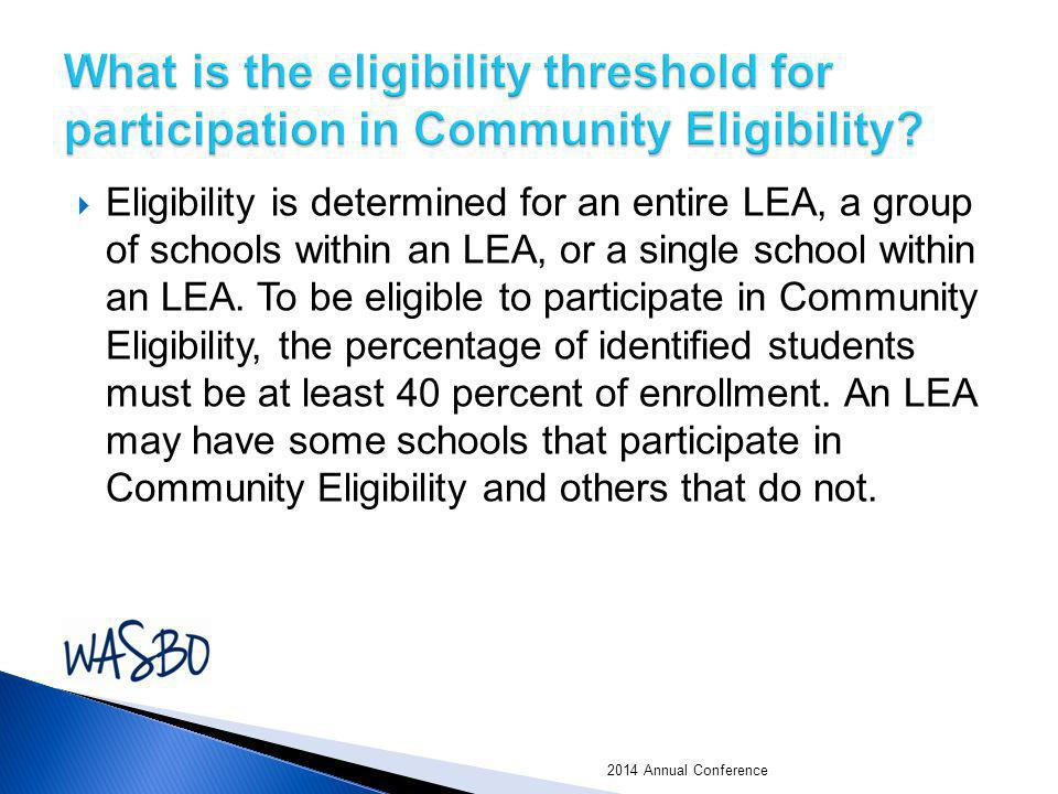 What is the eligibility threshold for participation in Community Eligibility