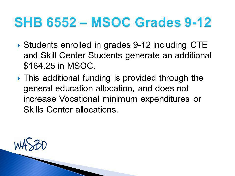 SHB 6552 – MSOC Grades 9-12 Students enrolled in grades 9-12 including CTE and Skill Center Students generate an additional $164.25 in MSOC.