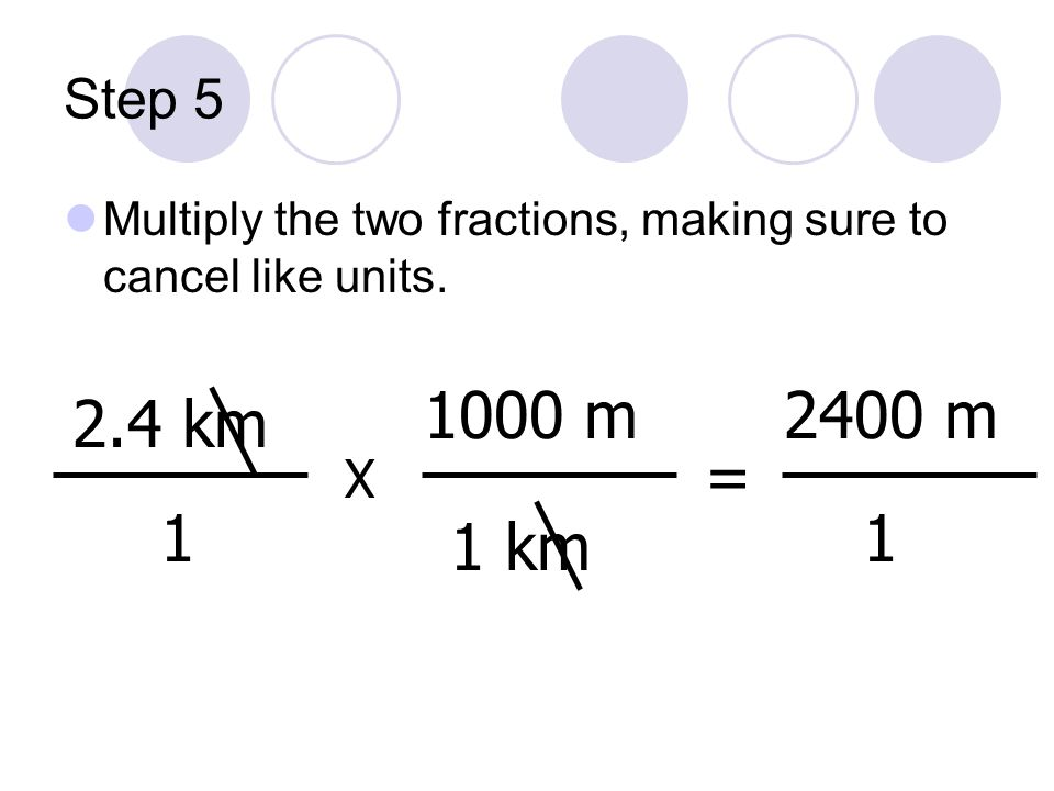 Step 5 Multiply the two fractions, making sure to cancel like units. 1000 m. 2400 m. 2.4 km. = X.