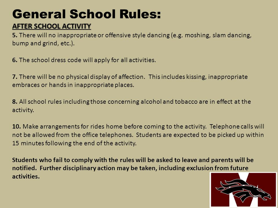 General School Rules: AFTER SCHOOL ACTIVITY 5