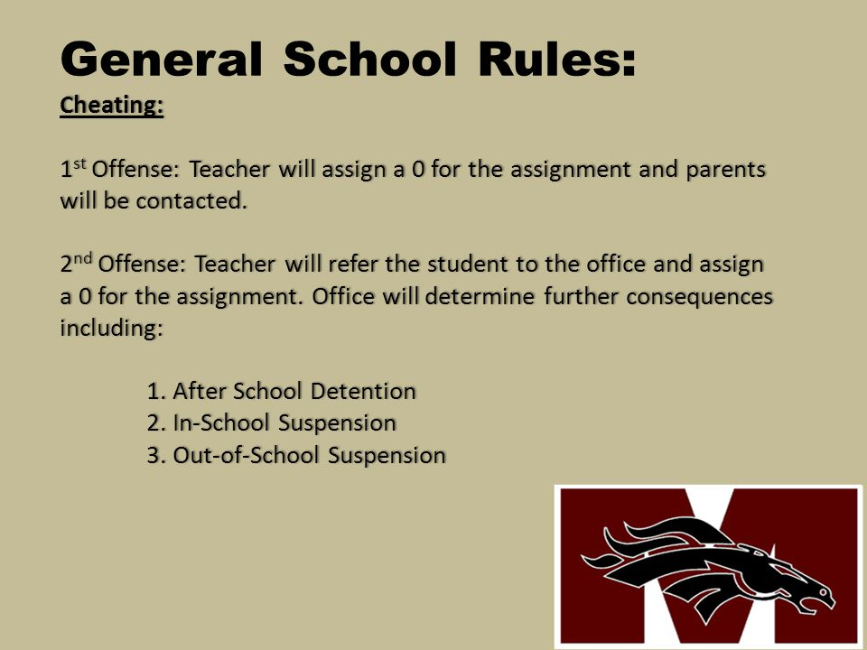 General School Rules: Cheating: 1st Offense: Teacher will assign a 0 for the assignment and parents will be contacted.