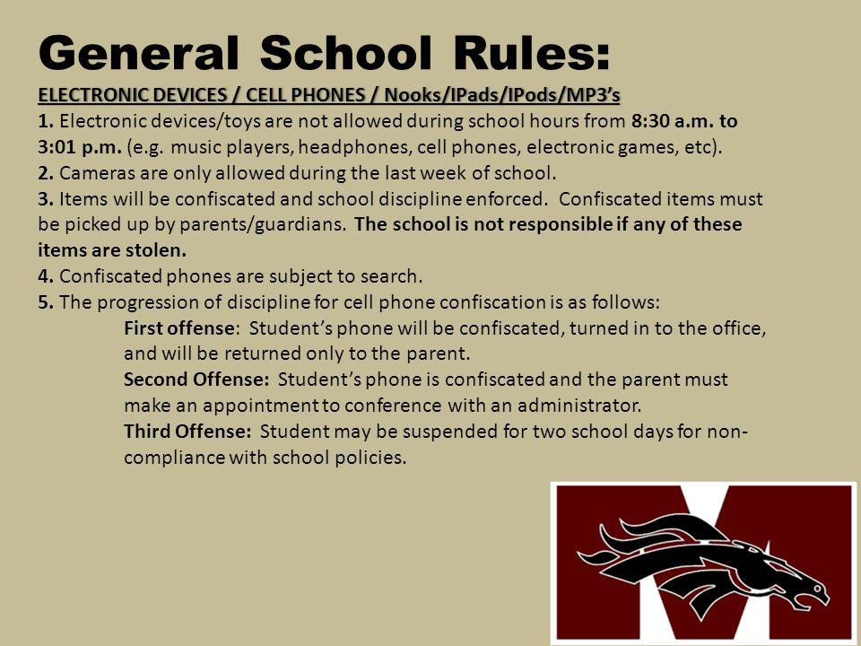 General School Rules: ELECTRONIC DEVICES / CELL PHONES / Nooks/IPads/IPods/MP3's 1.