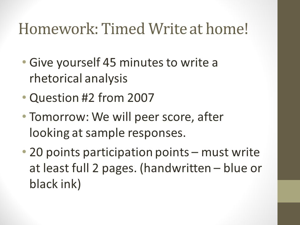 Homework: Timed Write at home!