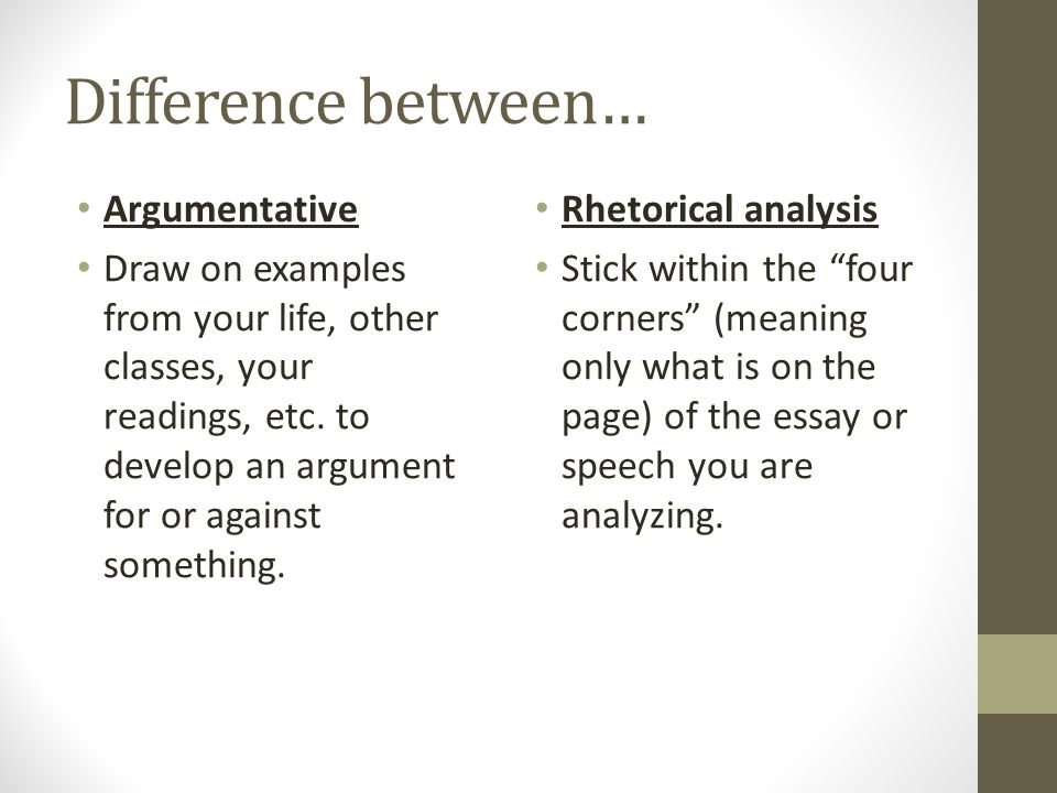 Difference between… Argumentative