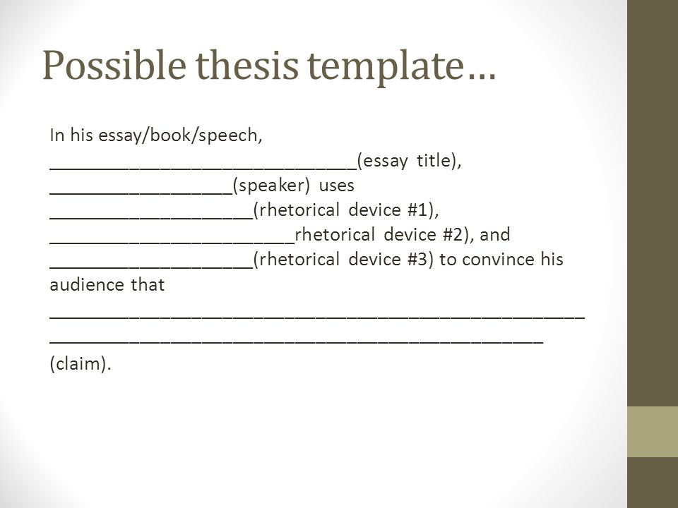 Possible thesis template…