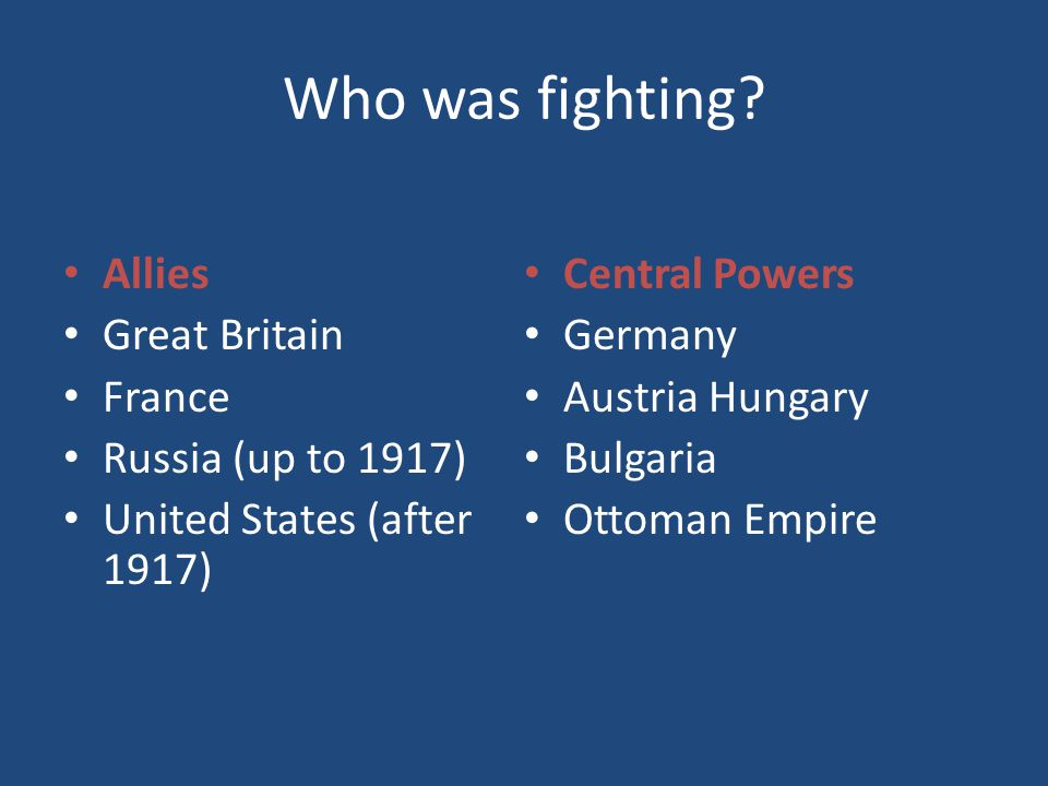 Who was fighting Allies Central Powers Great Britain Germany France