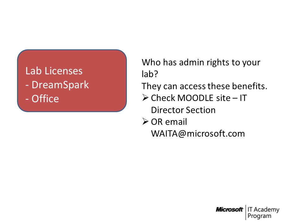 Lab Licenses - DreamSpark - Office Who has admin rights to your lab