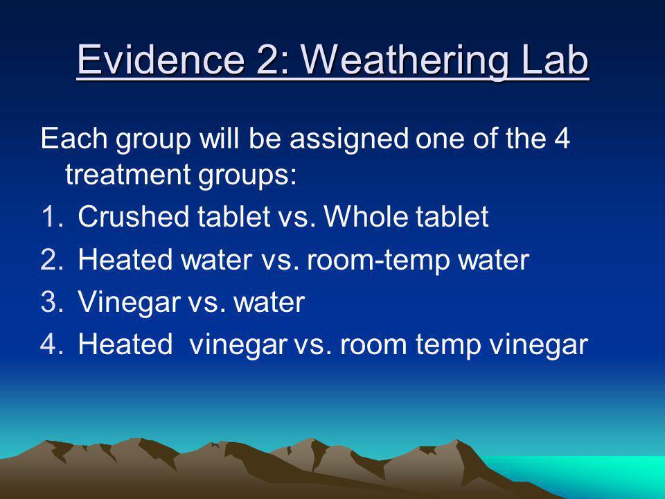 Evidence 2: Weathering Lab