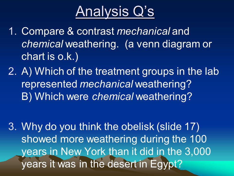 Analysis Q's Compare & contrast mechanical and chemical weathering. (a venn diagram or chart is o.k.)