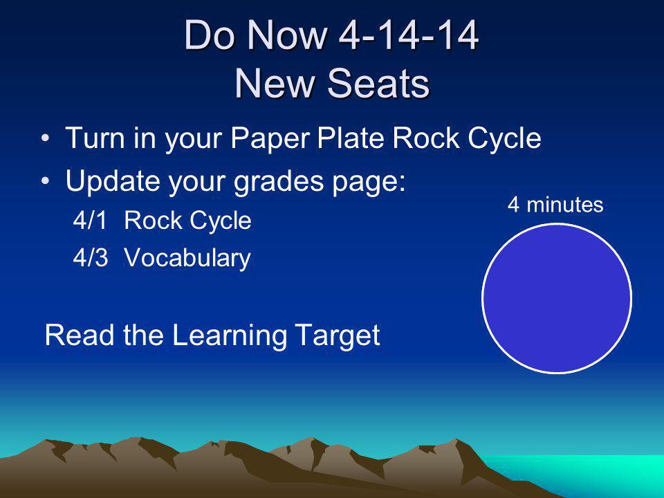 Do Now 4-14-14 New Seats Turn in your Paper Plate Rock Cycle