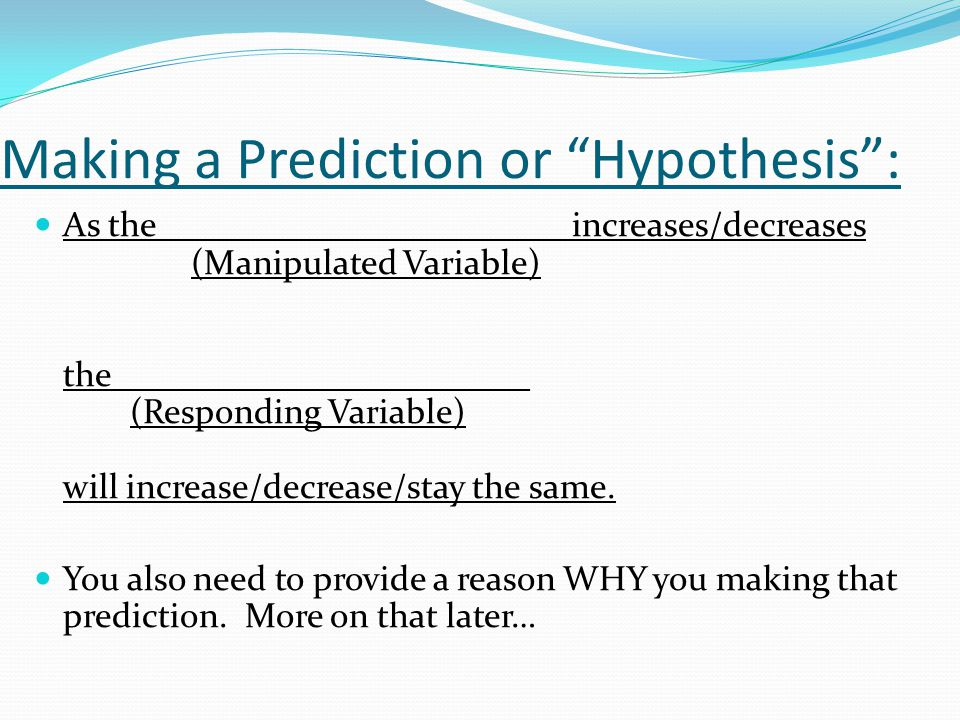 Making a Prediction or Hypothesis :