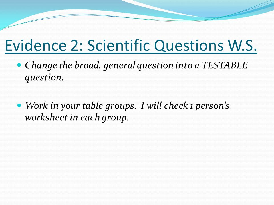Evidence 2: Scientific Questions W.S.