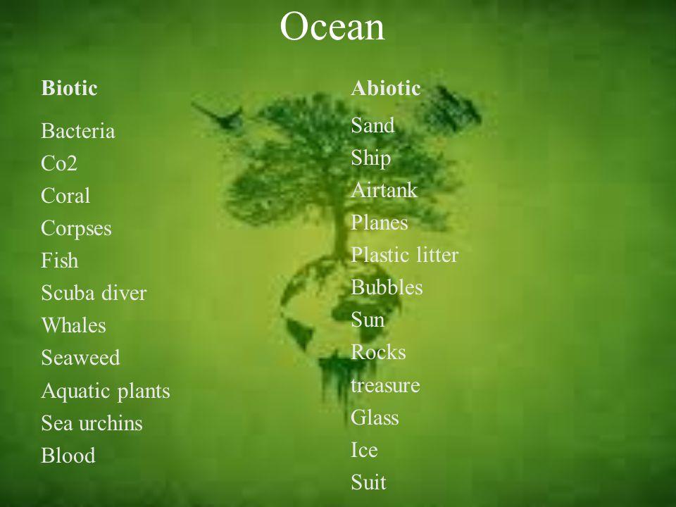 Ocean Biotic. Abiotic. Sand Ship Airtank Planes Plastic litter Bubbles Sun Rocks treasure Glass Ice Suit