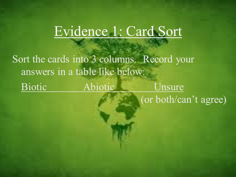Evidence 1: Card Sort Sort the cards into 3 columns. Record your answers in a table like below: