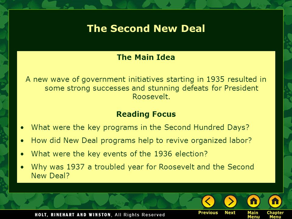 The Second New Deal The Main Idea
