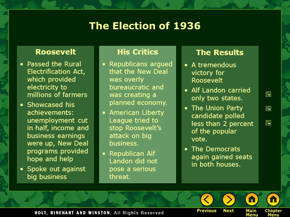 The Election of 1936 Roosevelt His Critics The Results