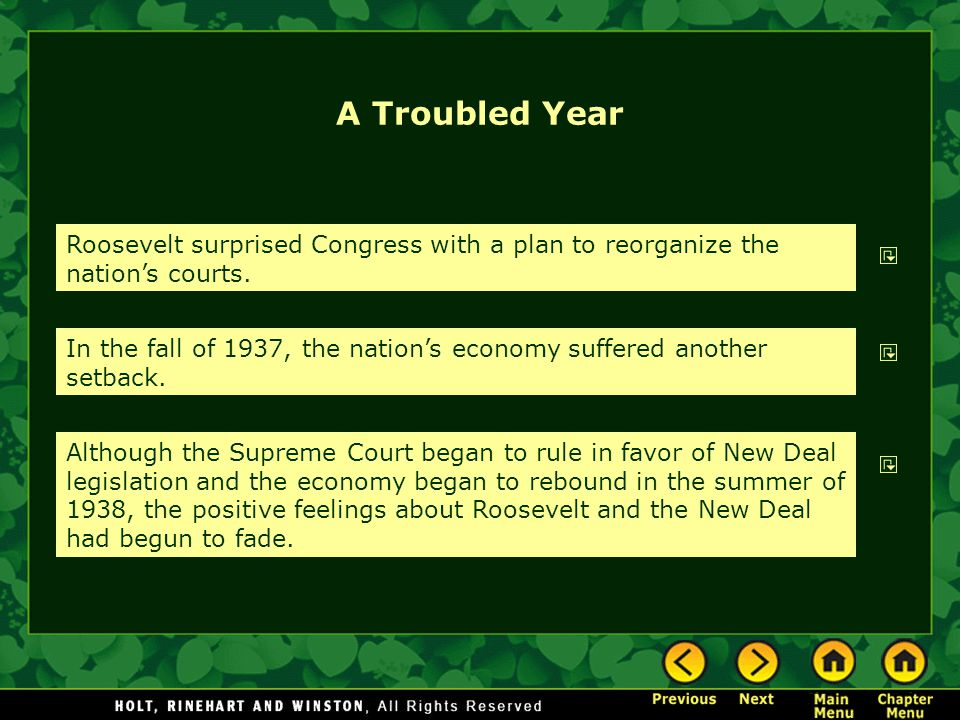 A Troubled Year Roosevelt surprised Congress with a plan to reorganize the nation's courts.