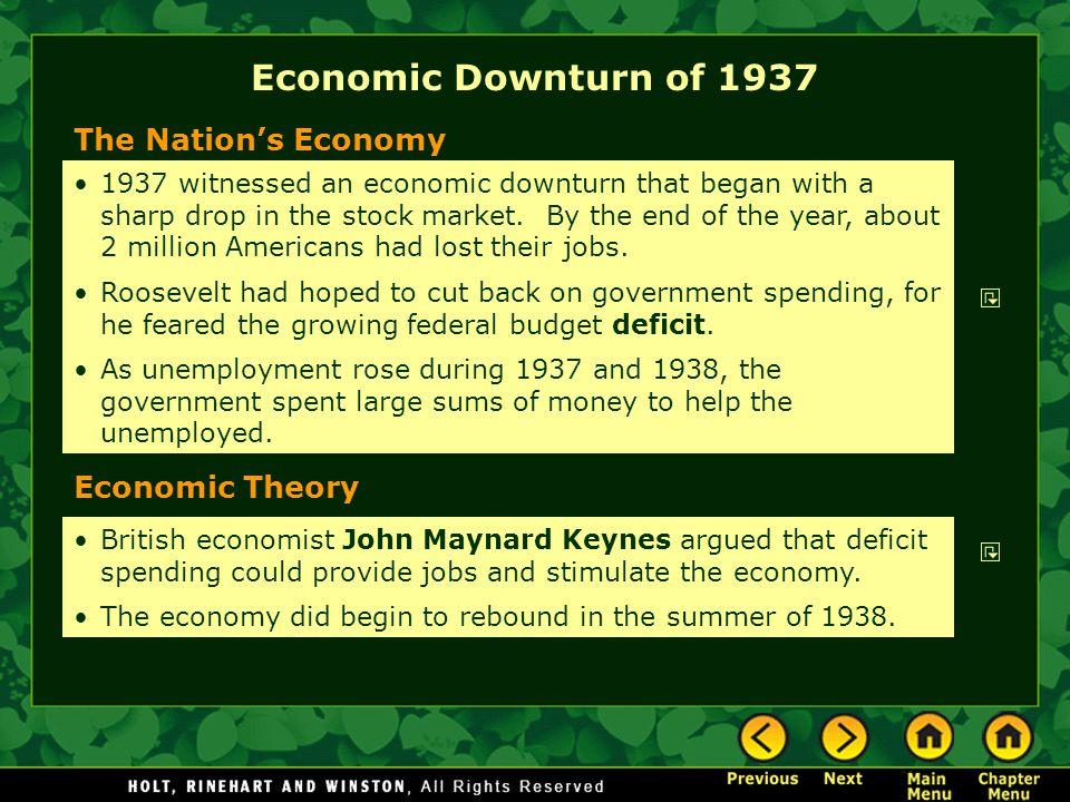 Economic Downturn of 1937 The Nation's Economy Economic Theory