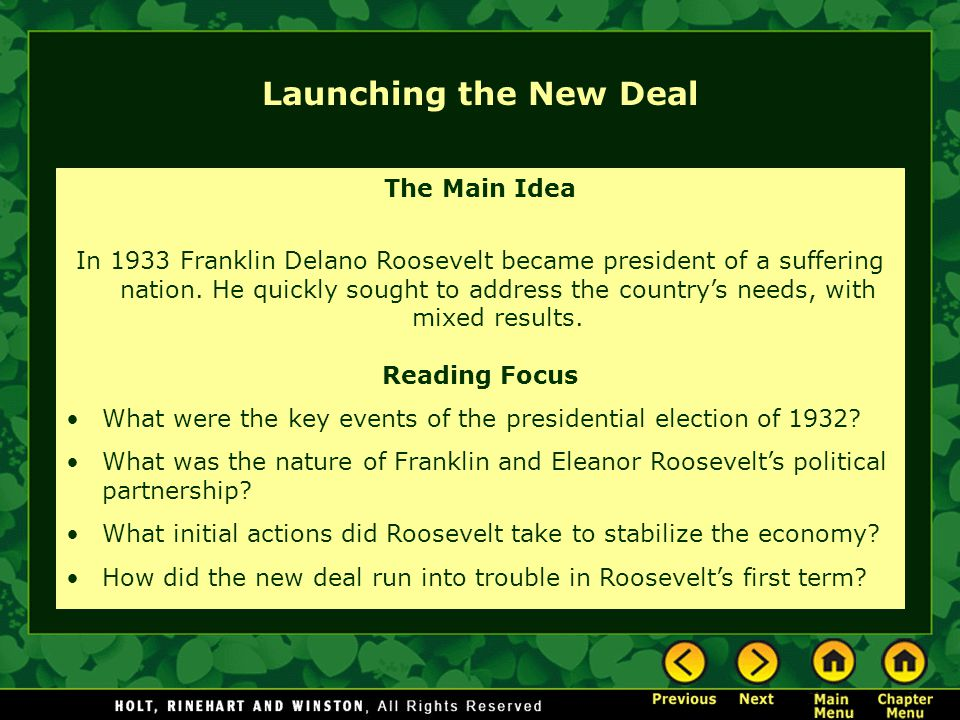 Launching the New Deal The Main Idea