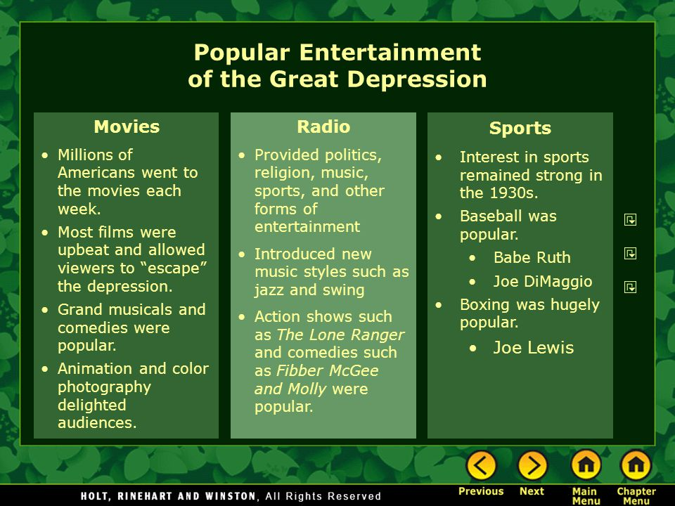 Popular Entertainment of the Great Depression