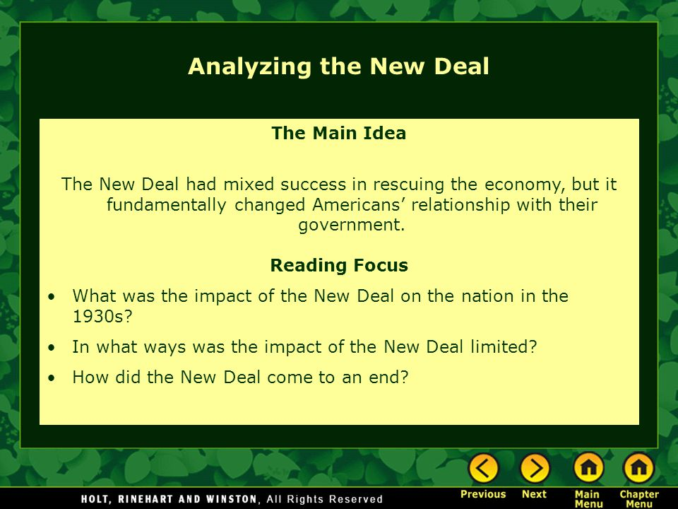 Analyzing the New Deal The Main Idea