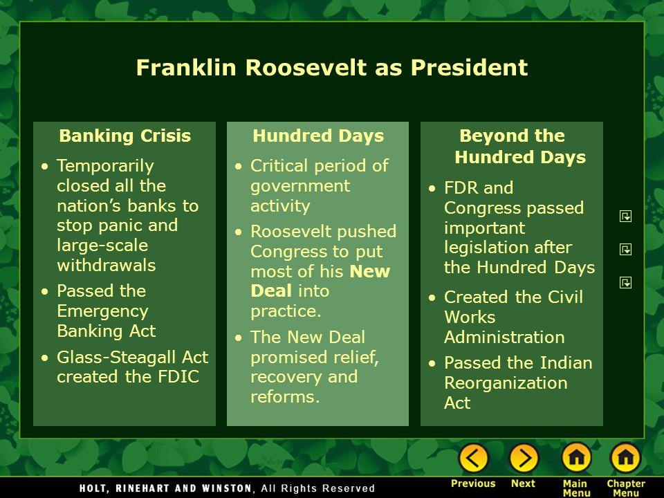 Franklin Roosevelt as President