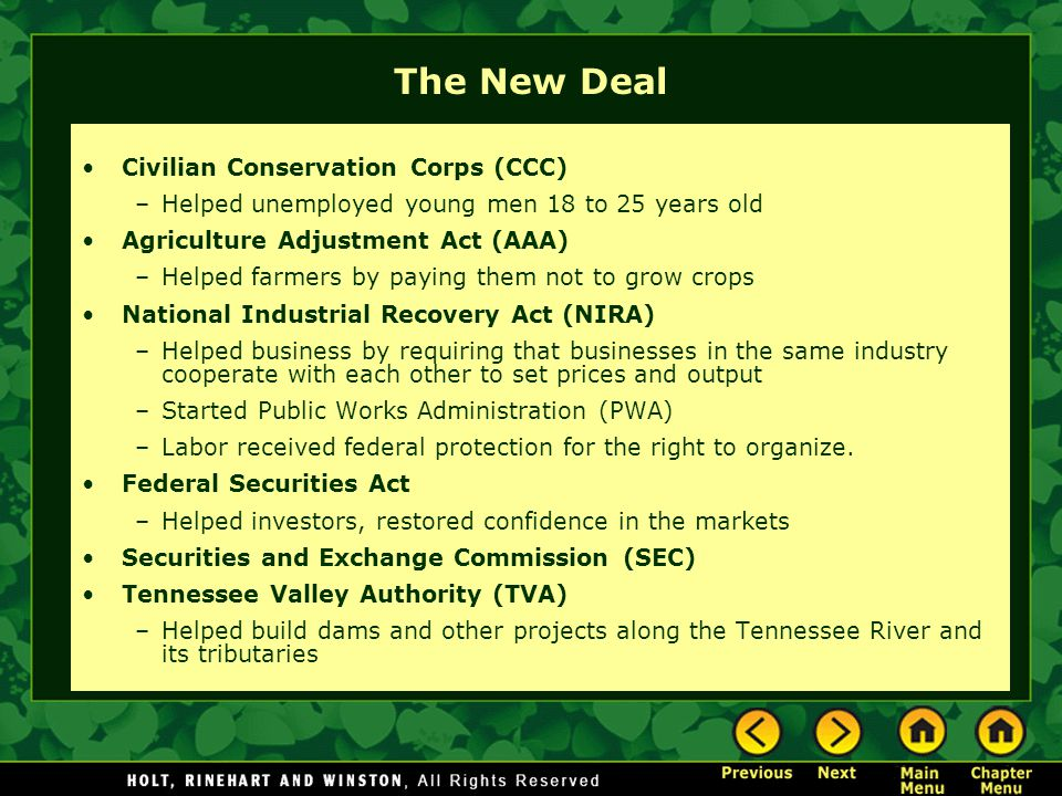 The New Deal Civilian Conservation Corps (CCC)