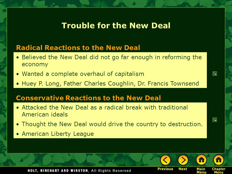 Trouble for the New Deal