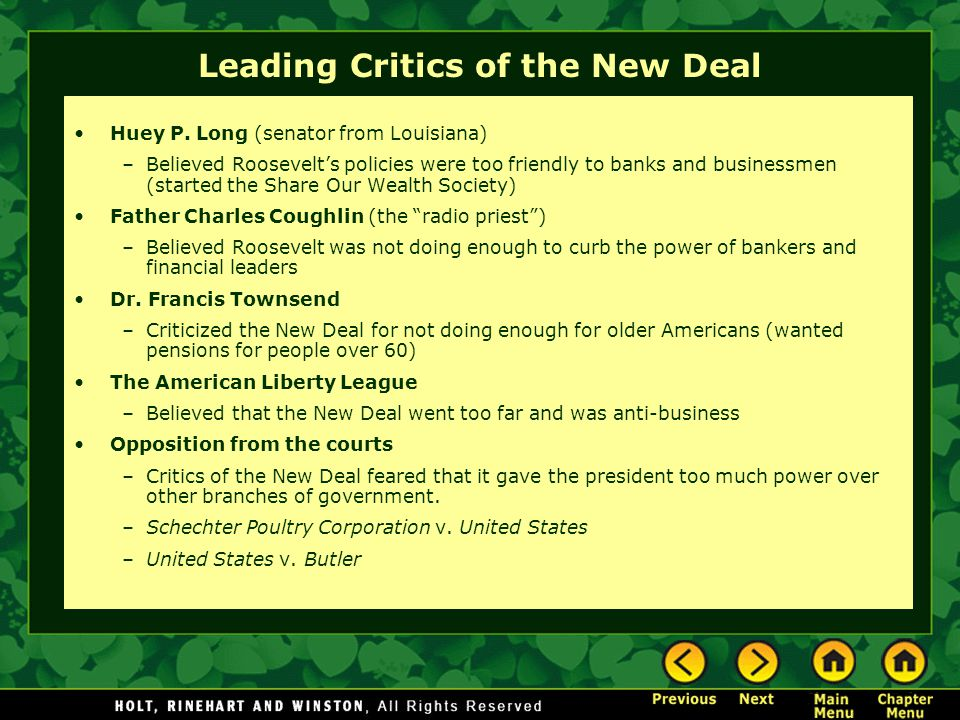 Leading Critics of the New Deal