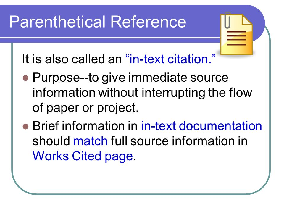Parenthetical Reference