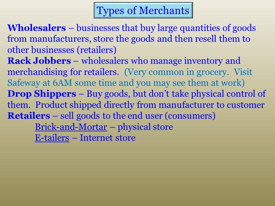 Types of Merchants