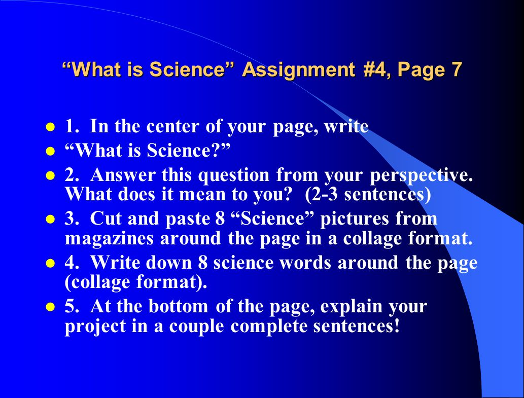 What is Science Assignment #4, Page 7