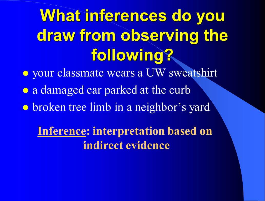 What inferences do you draw from observing the following